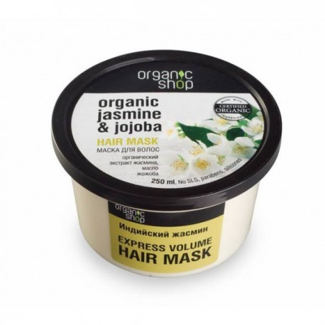 Maska do włosów Natychmiastowa Objętość INDYJSKI JAŚMIN i JOJOBA 250ml ORGANIC SHOP