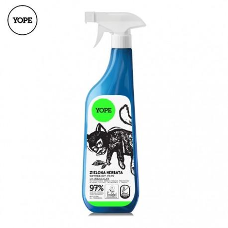 Naturalny płyn uniwersalny do czyszczenia rożnego rodzaju powierzchni w kuchni i łazience ZIELONA HERBATA 750ml YOPE