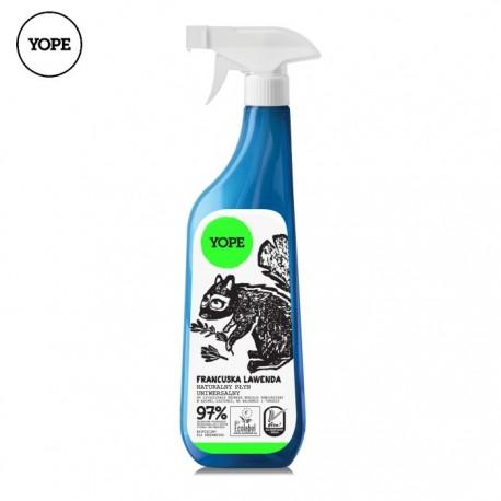 Naturalny płyn uniwersalny do czyszczenia rożnego rodzaju powierzchni w kuchni i łazience LAWENDA 750ml YOPE