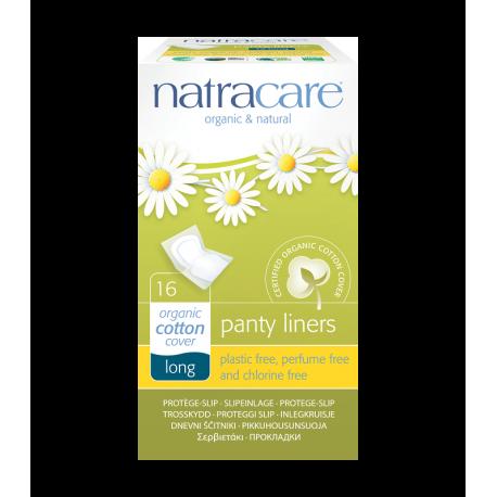 Wkładki higieniczne LONG LINERS niebielone chlorem z CERTYFIKOWANEJ naturalnej bawełny 16szt. NATRACARE