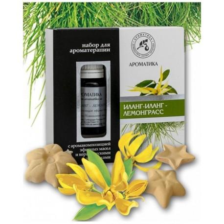 Zestaw do Aromaterapii Ylang Ylang & Lemongrass, Olejki Naturalne i Gwiazdki Ceramiczne, Aromatika
